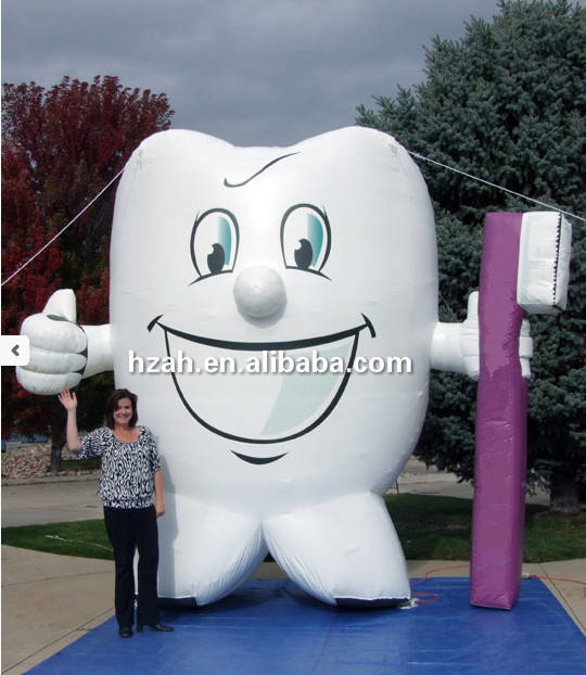 Advertising Inflatable Balloon Tooth Cartoon Inflatable Tooth with Toothbrush