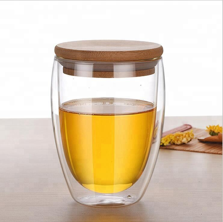 12oz/350ml Double Walled Glass Cup With Wooden Lid 12Oz Double Walled Glass Cup With Bamboo Lid Double Wall Coffee Glass