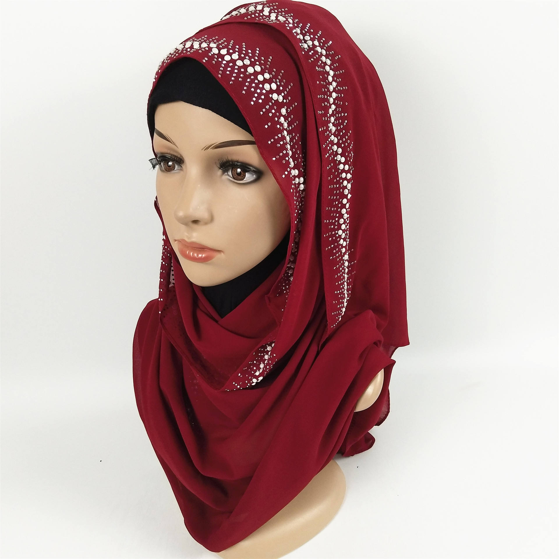 Simples most beautiful chiffon hijab xaile do lenço com Diamante
