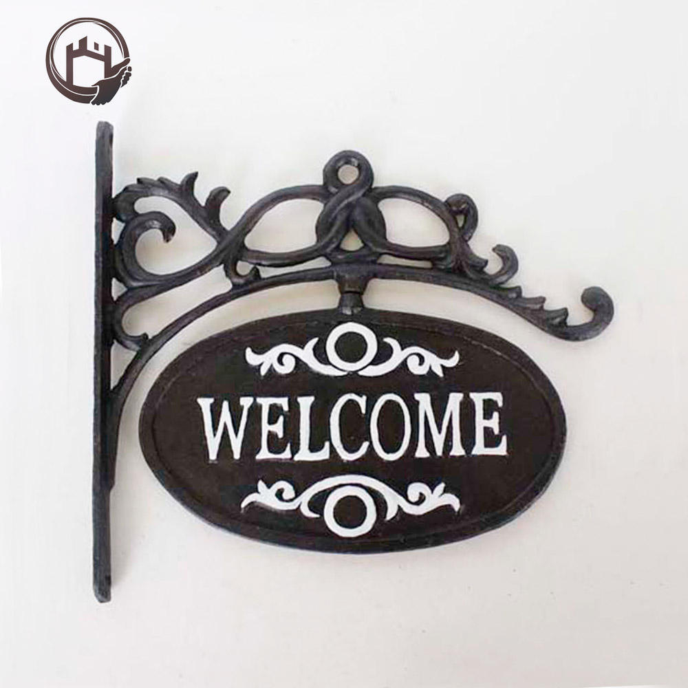 Antique cast iron metal crafts home retail store wall mount welcome sign decorative piece for sale