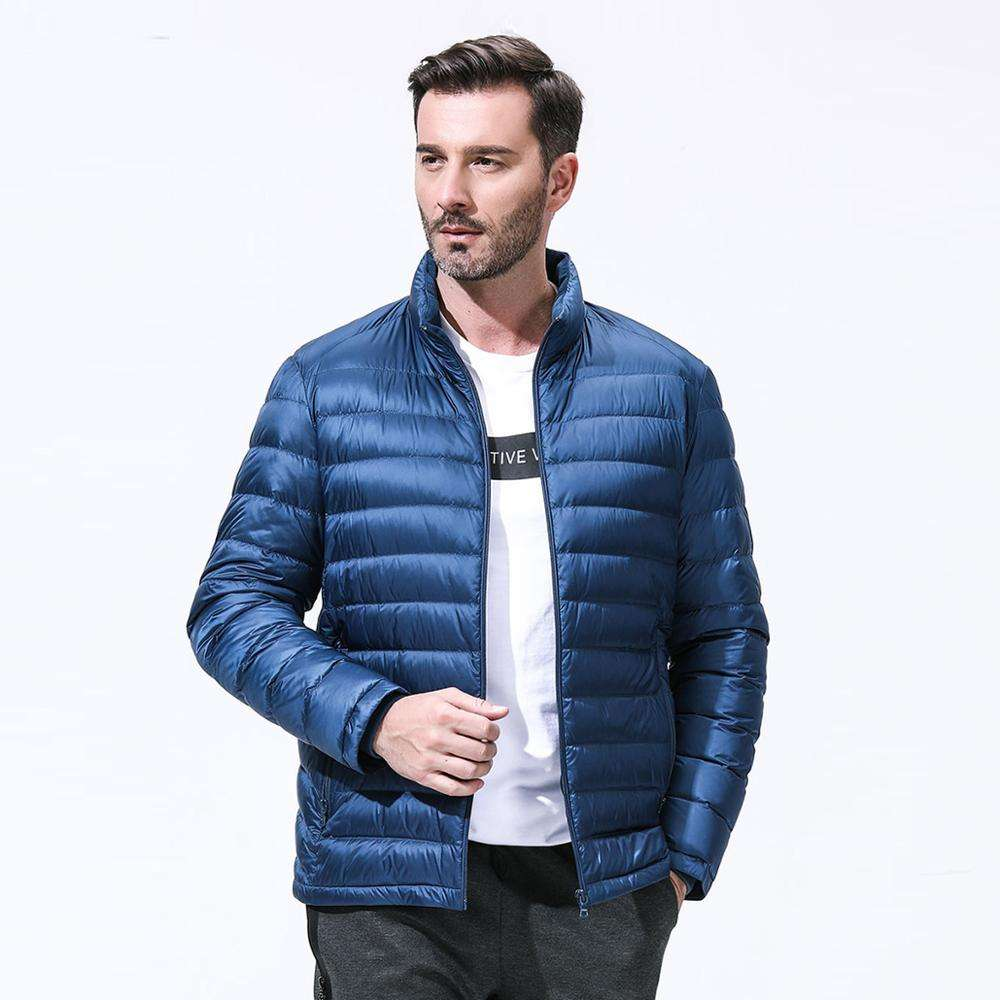 blue water proof breathable duck down filling garments light weight winter jacket