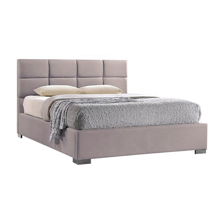 modern upholstered linen fabric platform double bed with wood slats