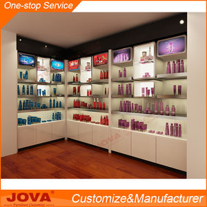 Cosmetic shop furniture store shelf cosmetics shop decoration with free design