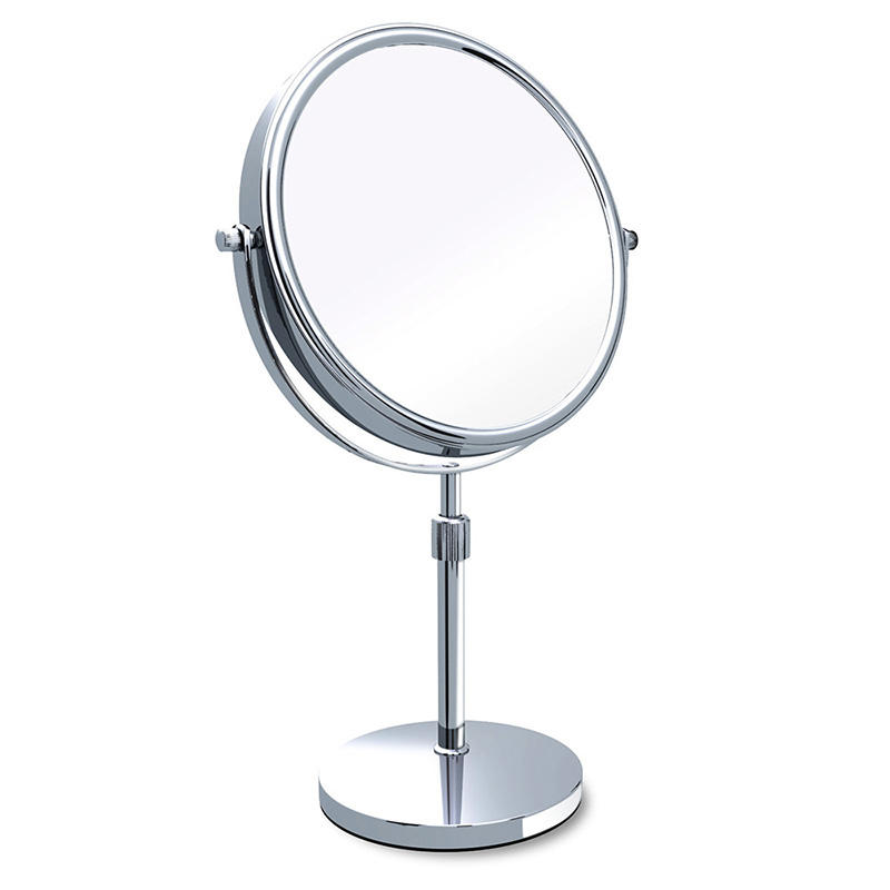Adjustable Stem Two Sided Round Chrome 1X/8X Beauty Makeup Mirror Sits On Table