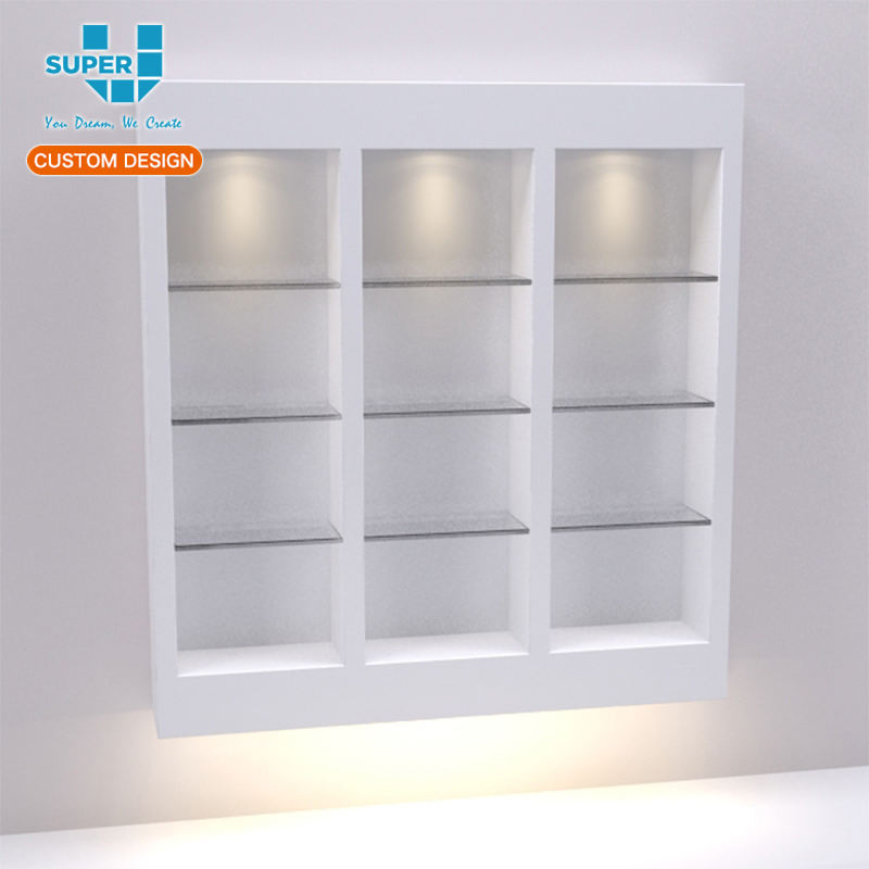 Modern Shoe Store Mini Glass Hidden Floating Shoe Display Shelf
