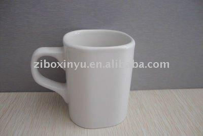 White Square ceramic coffee mugs