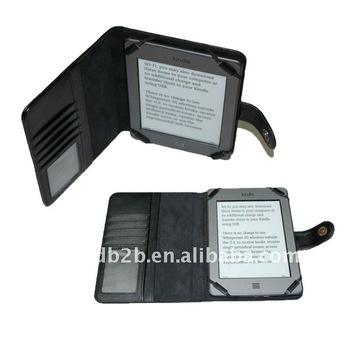 Booklet design Leather Cover Case for the Kindle Touch,with Card Slot