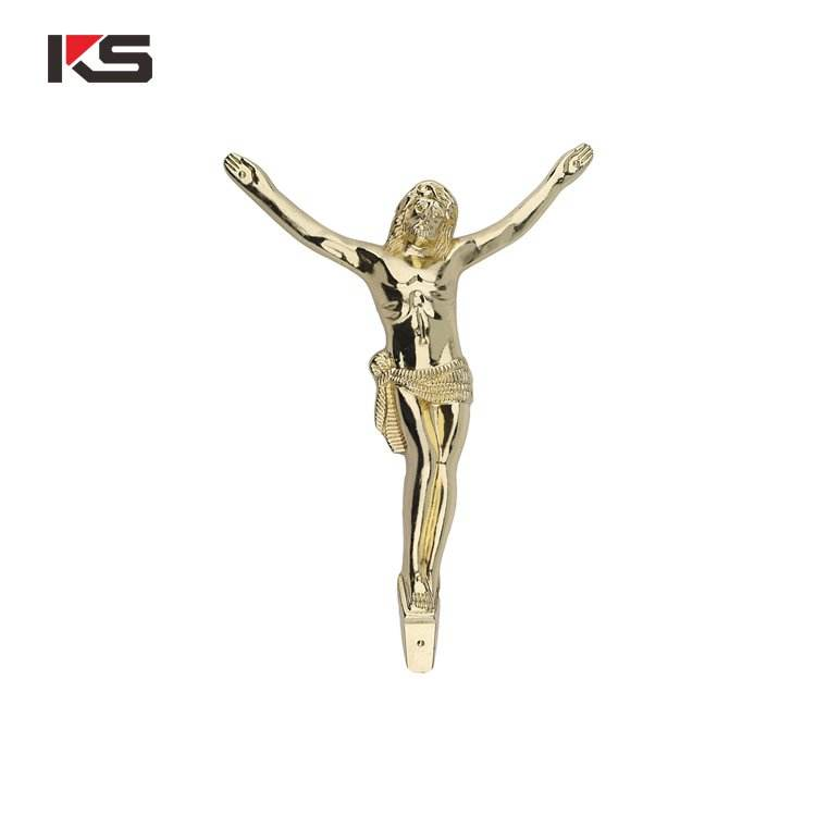 classical gold china funeral accessories factory zinc coffin crucifix cross