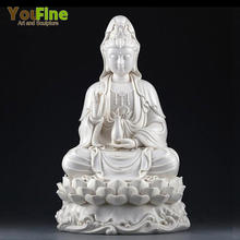 Chinese Religion White Marble GuanYin Sculpture