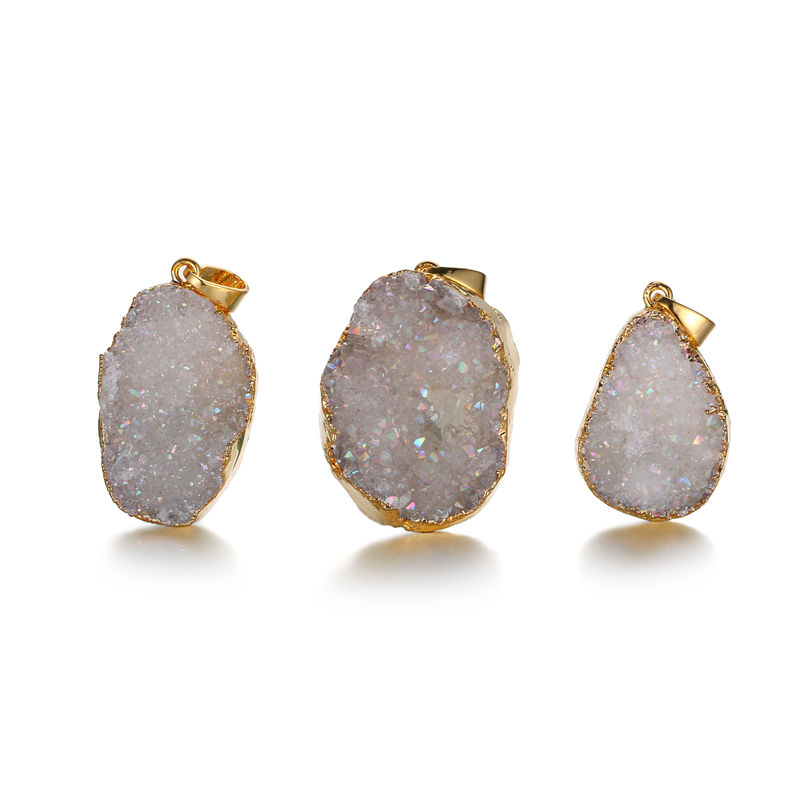 Brazilian druzy agate pendant necklace in 24K gold plated.