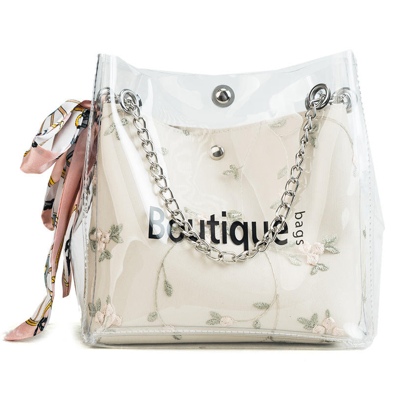 2020 Hotselling new arrival PVC transparent jelly girl two piece handbag set