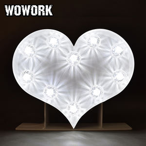 WOWORK customized led heart shaped wedding mariage decoration photo booth prop lights sign