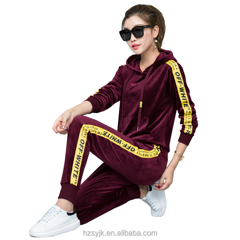 Custom Velour tracksuit Women Sporting Suits Casual Striped 2 Pieces Set Hoodies Pants Womens narrow foot Tracksuits