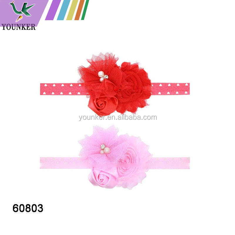 Teen Girl's Colorful Chiffon Bow Elastic Lace Headband for Valentine