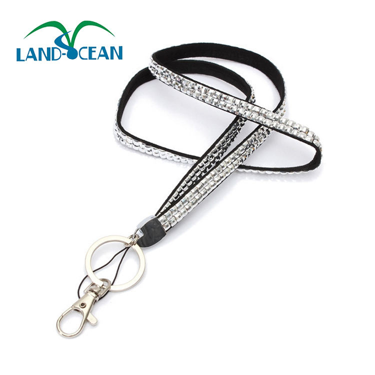 Rhinestone Bling Shiny Custom Lanyard ID Badge Cellphone Key Holder Ring