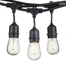 Custom party vintage 48ft 15 socket 220v powered warm indoor patio outdoor led globe bulb socket string lights