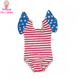Red White Blue Stars & Stripes 4th Of July Kids Flutter Sleeve Leotard Wholesale Baby Dance Ballet Rhythmic Gymnastics Leotards