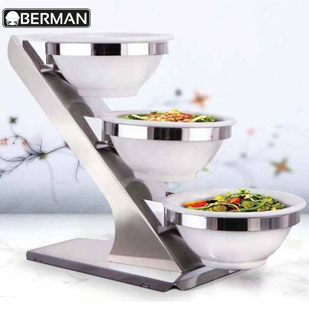 New products berman hotel supplies 3 tier india cake stand ceramic buffet server used restaurant bowls for wedding banquet