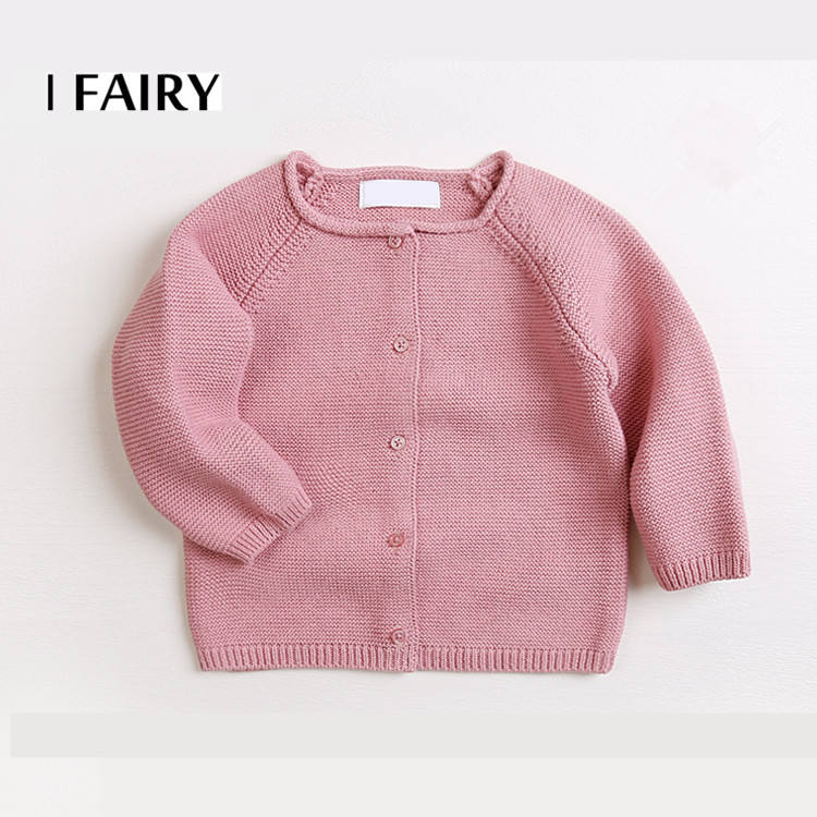 Small MOQ custom raglan sleeve button down baby knitted cardigan