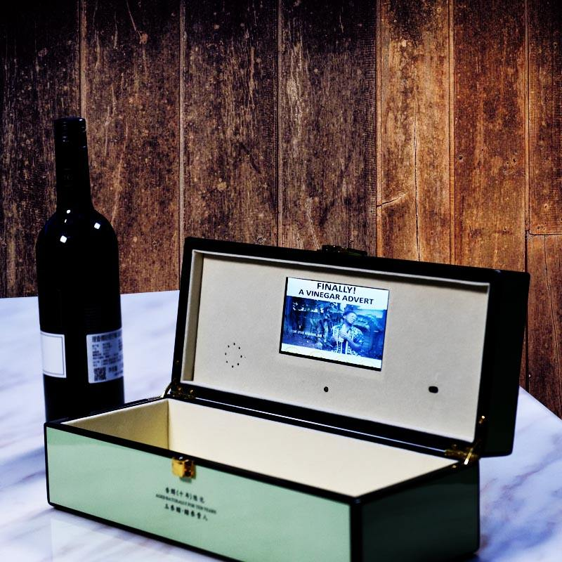 Video Brochure,7 Inch LCD Screen,Wood Box for wine Promotion