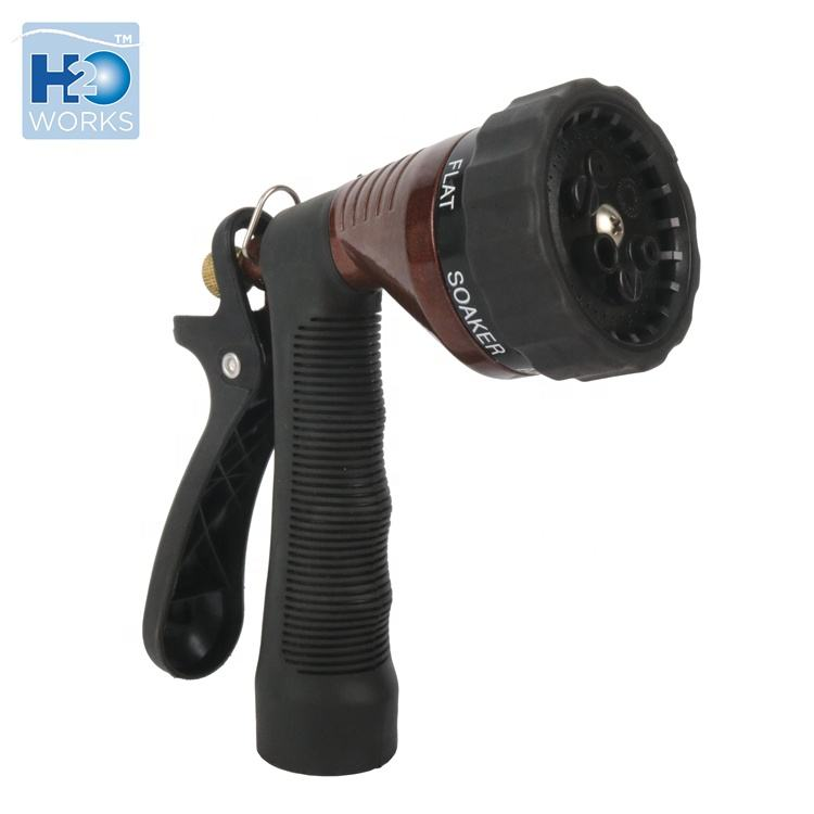 Garden watering 6 pattern metal garden hose nozzle with rear trigger