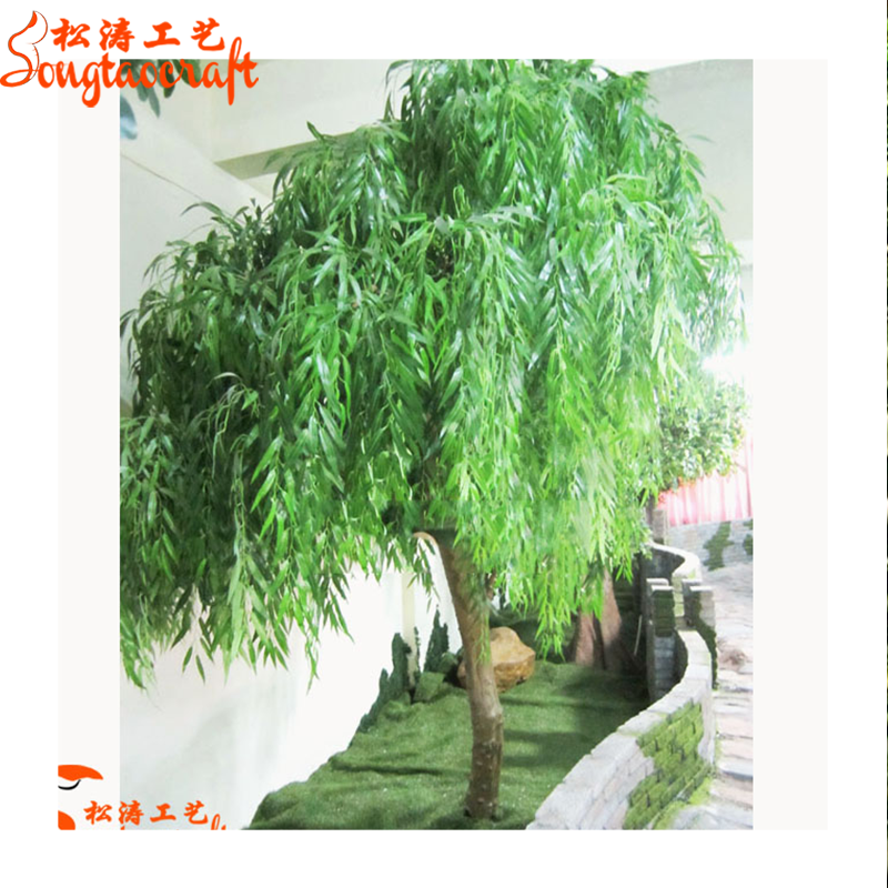 Large outdoor green plastic willow leaves plants artificial weeping willow quality tree for garden decor