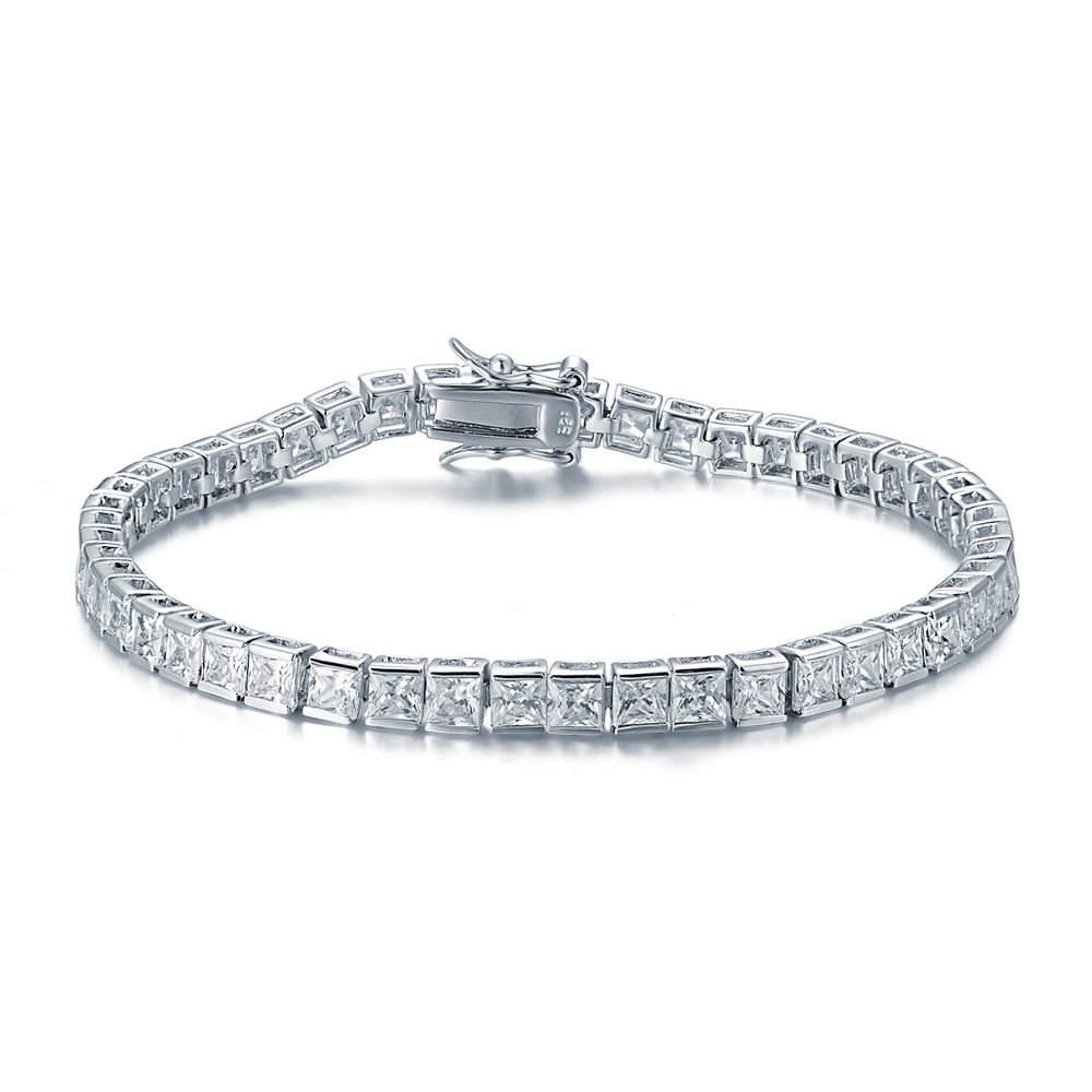 Peishang Klassieke <span class=keywords><strong>Armband</strong></span> 925 Ster Charm Style Zirconia White Gold Plating Ketting Tennis Armbanden Voor Mannen