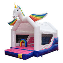 dazzling rainbow kids used commercial inflatable jumping castle,cheap large children unicorn bouncy castle with slide for sale