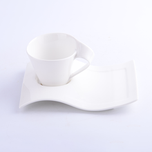 250ml restaurant white coffee cups with logo airline hotel ceramic mug porcelain wave shape coffee cup