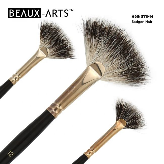 Badger Hair Fan Blending Brush for Oil Painting Brush Set Art Brush With Short Wooden Handle