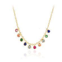 Gold Plated 925 Sterling Silver Jewelry Pave CZ Stone Necklace