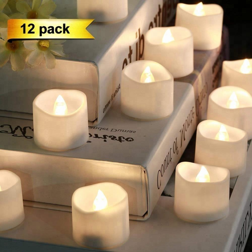 12 개 a 팩 wedding decoration 화염 smokeless safe white LED candle 차 빛