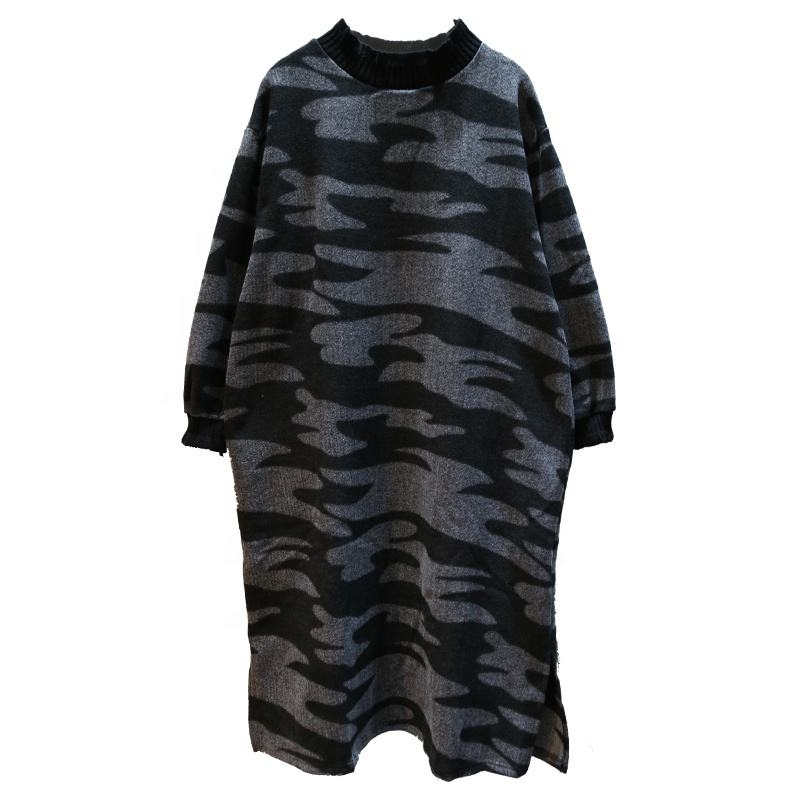 Winter Long Sleeve Women XXXXL Plus Size Camo Dress Fashion Midi Streetwear