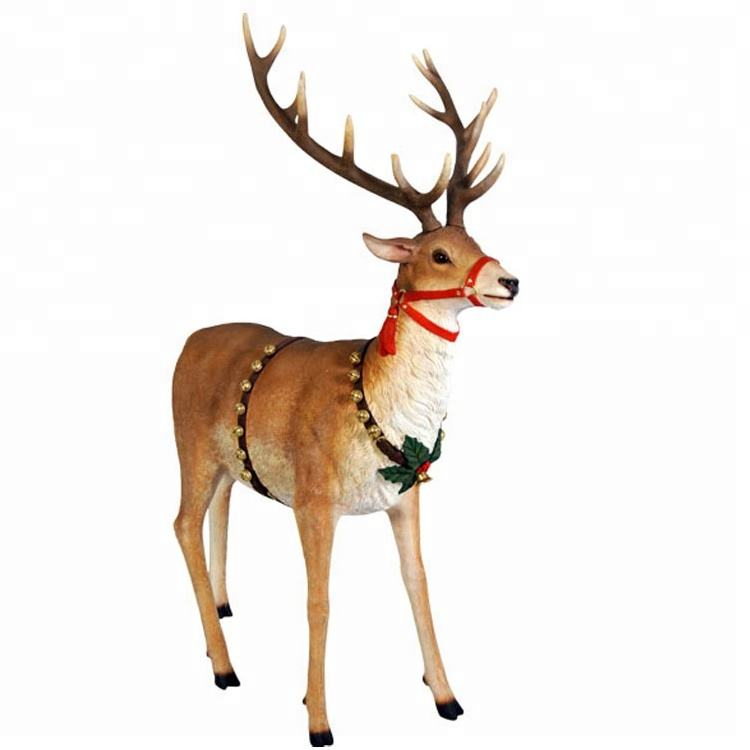 Shop decoration life size fiberglass resin reindeer sculpture christmas deer statue decor