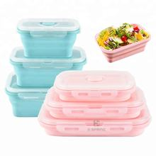 BPA Free Airtight Silicone Collapsible Meal Prep Food Storage Containers Kids Lunch Box