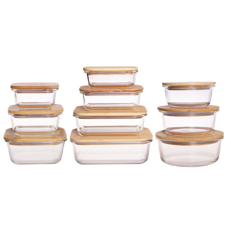 Glass material food storage box and bins rectangle round square shape bamboo wood flat lid glass container for lunch