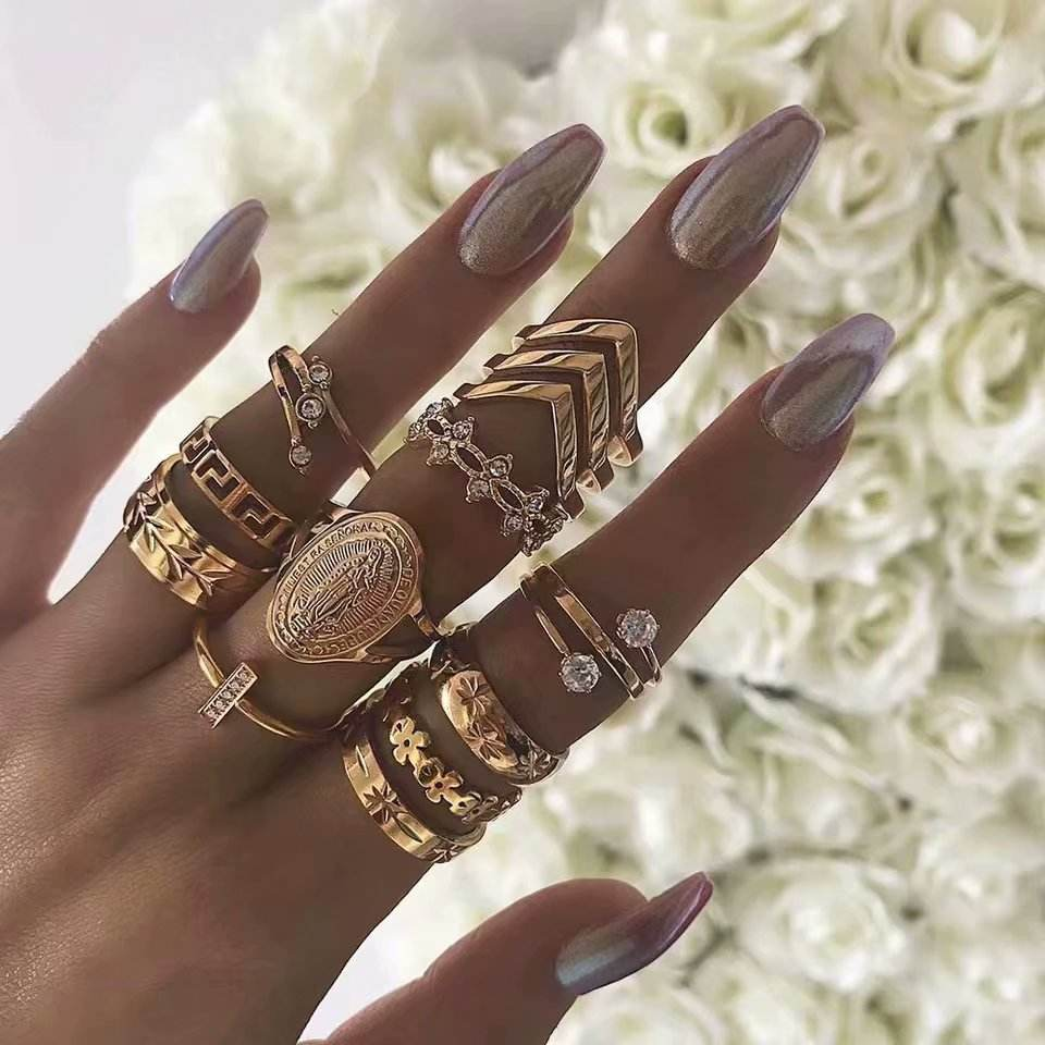Fashion ladies gold finger ring set for women Wholesale N96243