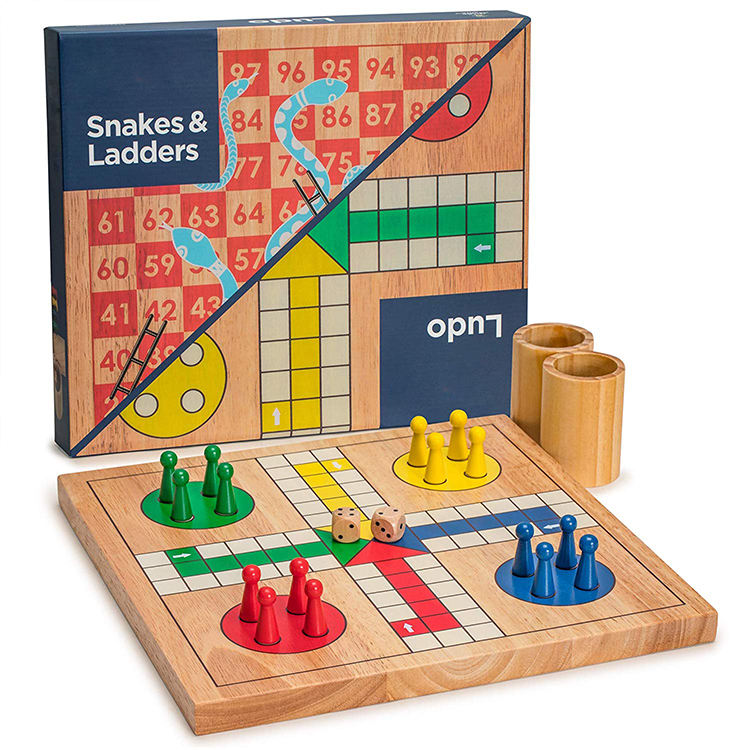 Wooden Snakes and Ladders Design Ludo the Game Reversible 2 in 1 Ludo Board Game Set