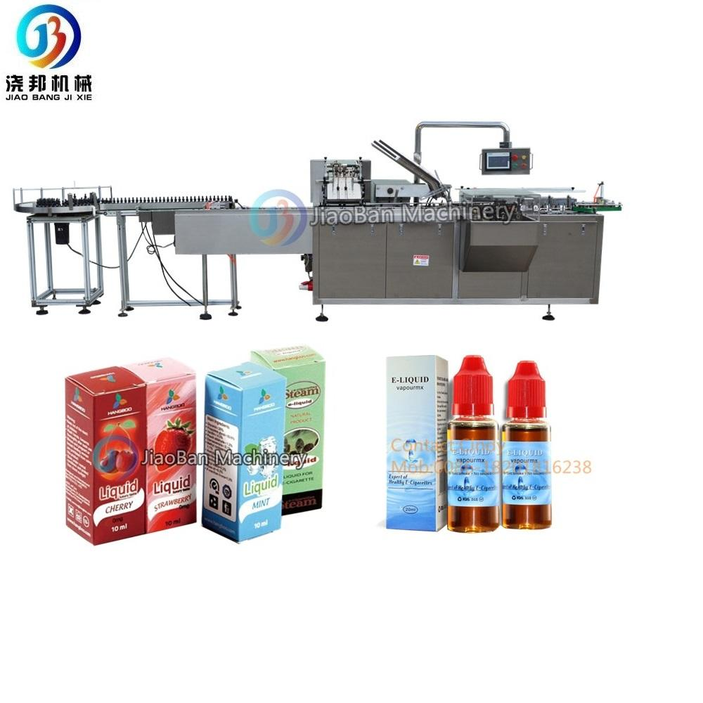 JB-120WZ automatic e liquid bottle leaflet cardboard box packer e juice cartoning machine