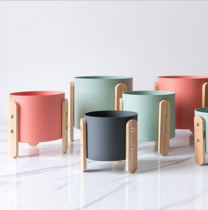 Kayu Bambu Adjustable Plant Stand, Indoor dan Outdoor Macarons Berwarna-warni Bunga Pot Stand