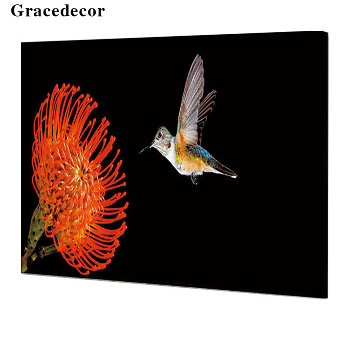 Wholesale Price High End Crystal Layer Bird And Flower Home Decorative Wall Art