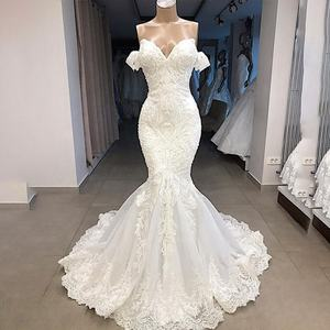 Fit and Flare Lace Appliqued Cap Sleeve Bridal Gowns Wedding Dresses 2019