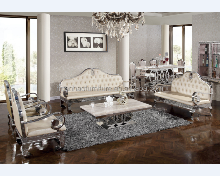 White genuine leather metal frame sofa set /space saving furniture S156