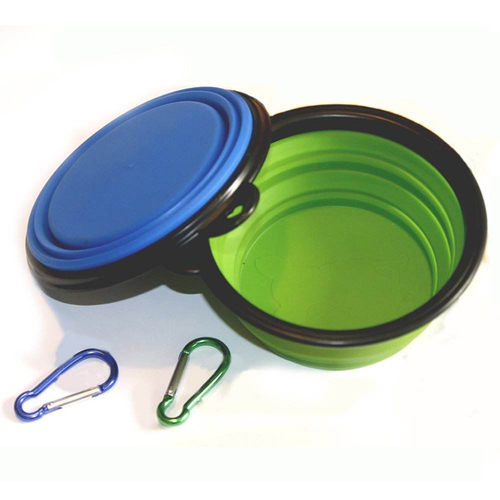 Amazon Hot Selling Small Medium Portable Travel Silicone Personalized Puppy Collapsible Dog Bowl