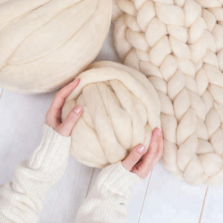 Wholesale Thick Hand Knitting Giant 100% Merino Wool Yarn Super Chunky