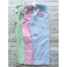 Hot Sale New Arrival Monogrammed Seersucker Easter Kids Pajama Pants
