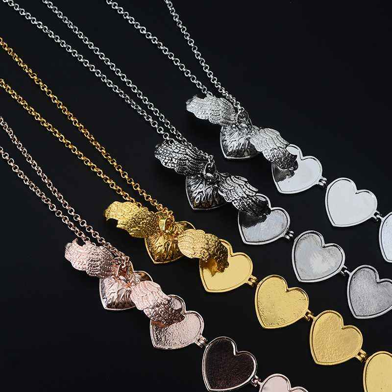 Magic — médaillon mémoire en forme de cœur pour 5 photos, boîte Flash d'ailes d'ange, collier pour Album, nouvelle collection 2019