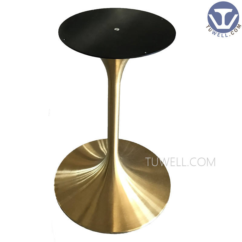 TW2211 Stainless steel Electroplating gold table base aluminum outdoor for tulip table