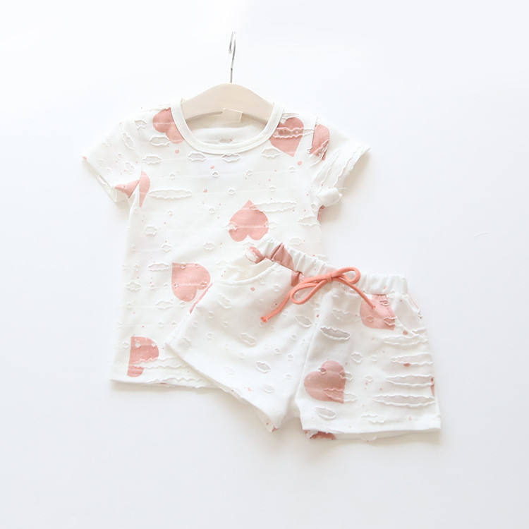 Casual Kids Clothing Baby Girls Clothes Sets Summer Heart Printed Girl Tops Shirt + Shorts Suits Children's Clothing