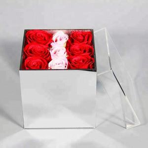 Hot sell mirror acrylic flower box for 9 roses wholesale